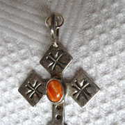 Sterling Cross Pendant signed Ronnie Willie Center Stone Navajo Indian