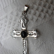 Sterling Silver & Black Onyx Cross Hand Wrought