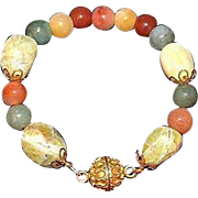 Artisan Crafted Tumbled Yellow Opal Gemstones and Natural Nephrite Jade Bead Bracelet