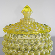 SALE Imperial Glass Topaz Hobnail Covered Candy Jar