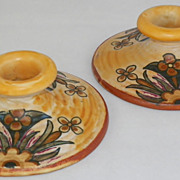 SOLD Weller American Art Pottery Barcelona Candlestick Pair