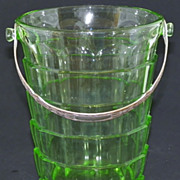 SALE Depression Green Glass Tearoom Ice Bucket