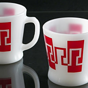 SALE Pair of Fire King D Handle Silk Screen Graphic Mugs