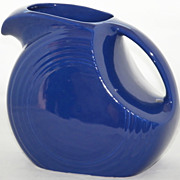 SALE Original Vintage Cobalt Blue Disk Water Pitcher