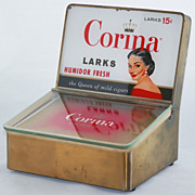 SALE 1950s Corina Larks Advertising Countertop Cigar Humidor
