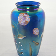 SALE Fenton Art Glass Limited Edition Blue Carnival Glass Hand Painted Vase