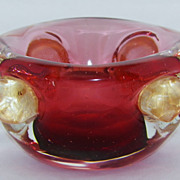 SALE Vintage Barbini Style Murano Glass Bowl with Gold Dusted Applied Lobes