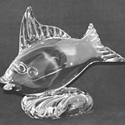SALE Tiffin Glass 6043 Crystal Fish on Wave