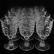 SALE Set of 12 EAGP Bakewell & Pears Flint Glass Pillar Goblets