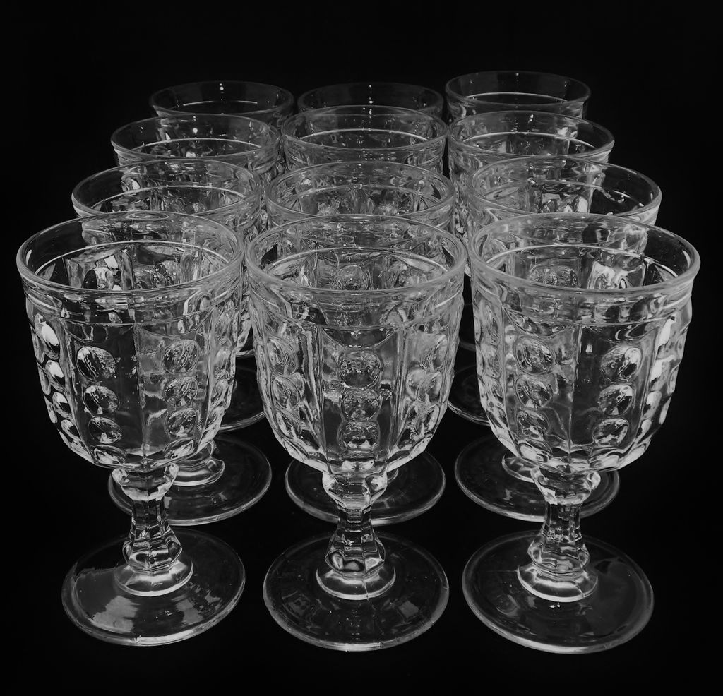 Set of 12 EAGP Bakewell & Pears Flint Glass Pillar Goblets