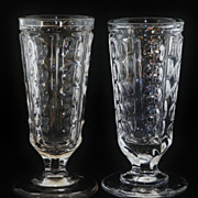 SALE Set of 2 EAGP Bakewell & Pears Non-Flint Glass Pillar Footed Tumblers
