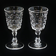 SALE Set of 2 EAGP Bakewell & Pears Flint Glass Pillar Cordials