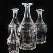 SALE Set of 4 EAGP Bakewell & Pears Flint Glass Pillar Bar Lip Bottles / Decanters