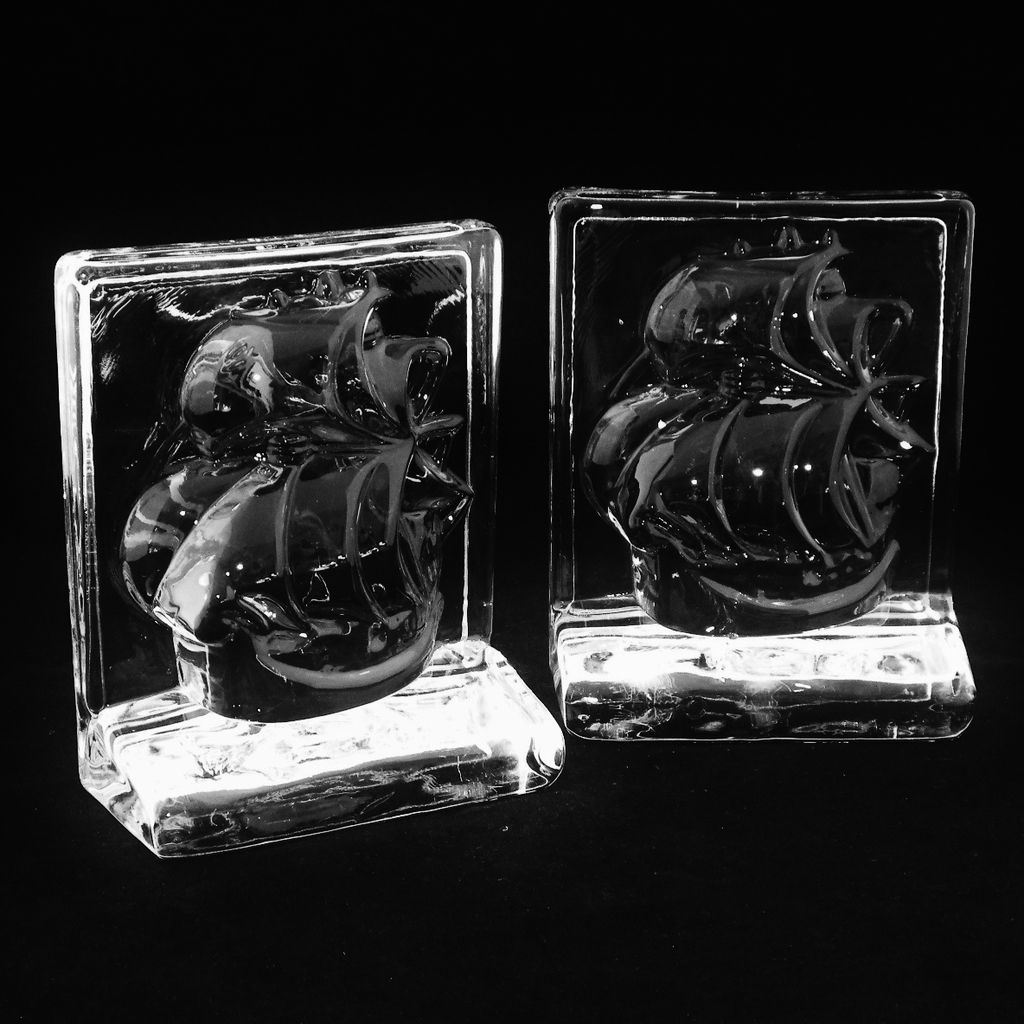 New Martinsville Viking Crystal Ship Bookends