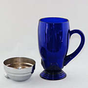 SALE New Martinsville Cobalt Cocktail Shaker Giant Ice Tea Mug
