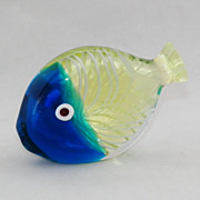 SOLD Murano Galliano FERRO Uranium Glass Plug Fish