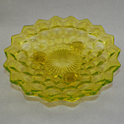 SOLD Fostoria Elegant Glass Canary Yellow American Tri Foot Bowl