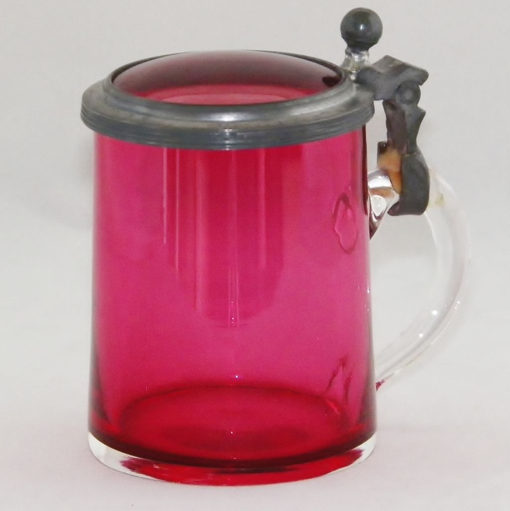 Small Continental Cranberry Glass Covered Mini Stein