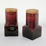 SALE Mid Century Modern Amethyst Glass Cork Top Canister Set
