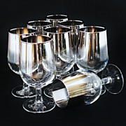SALE Dorothy Thorpe Mad Men Style Set of 8 Platinum Fade Water Goblets