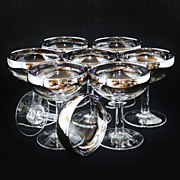 SALE Dorothy Thorpe Mad Men Style Set of 8 Platinum Fade Saucer Champagnes