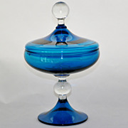 SALE Pee Dee Empoli  Toscany Style Italian Art Glass  Azure Blue Covered Dish
