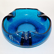 SALE Viking Glass Blunique Crackle Glass Large Ashtray