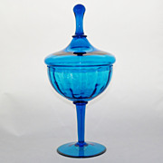 SOLD Pee Dee Empoli Toscany Azure Blue Mid Century Candy Jar
