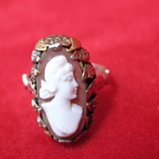 SALE Helzberg's Quality Value Jeweler Cameo Ring, Size 3.75 Leaf Pattern with White Profile Po
