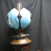 SALE Signed Bradley & Hubbard Lamp with Blue Open Lotus Shape Glass Shade with Jewels, Base wi