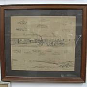 "SALE Carl Dahlgren (1841-1920) Transcontinental Railroad Inkwash 25"" X 23"" Framed"