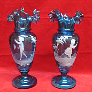SALE Mary Gregory Pair of Aqua Glass Vases - Turn of the Century Antique