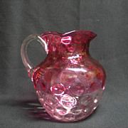 SALE Antique Rubina Pitcher, Inverted Thumb Print Design, Made of Glass, Pink Body and Clear H