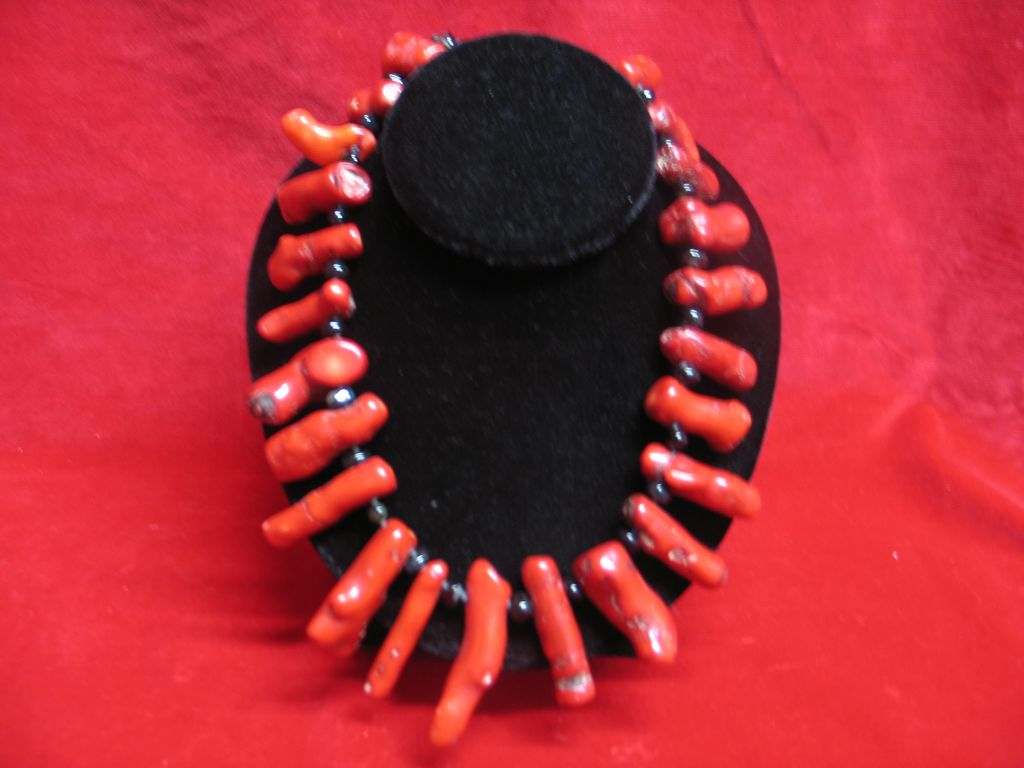 Artisan Red Coral Necklace Custom Design with Toggle Clasp