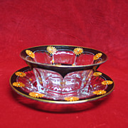 SOLD Heisey Enamel Set - Bowl and Saucer, Clear Glass with Painted Orange Flowers and Black Ri
