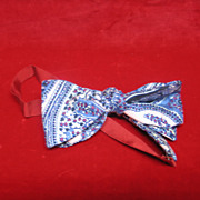 SALE Vintage Small Child's Silk Multicolor Bowtie with Red Strap