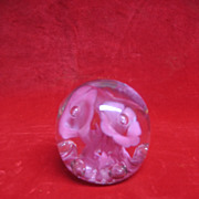SALE St. Clair Glass Company Paperweight - Lily - Pink and Clear Glass