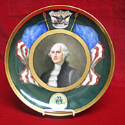 Antique American Painted Porcelain (APP) Hand Painted George Washington Plate Circa 1876