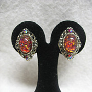 SALE Vintage Clip On Earrings - Red Oval Stone in Silver Color Diamond Setting