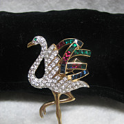 SOLD Vintage Carolee Flamingo Costume Jewelry Pin / Brooch