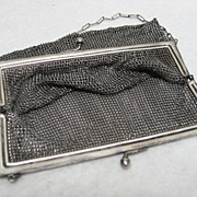 SALE Antique German Silver (Nickel Silver) Chainmail Victorian Small Purse with Strap Marked &quot;