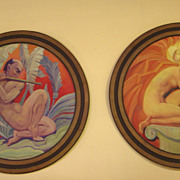 SALE Art Deco 1930's Circular Framed Paintings - Originally Made for Theatre Decorations in Sa