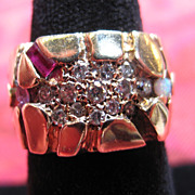 SALE Gold Ring with Diamond Cluster Inset and Ruby, Amethyst and Opal Stones - Size 7.5
