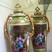 Antique Royal Vienna Urns - Matching Porcelain Pair - Signed by Reynolds, Austria