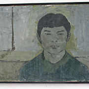 "SALE Artist Geoffrey Wickham (1919 - 2005)  ""Chinese Student"" Framed Original Painti"