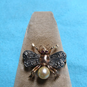 18 Karat Gold Bee Pin with Ruby, Diamond and Pearl - Vintage Estate Jewelry