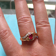 Women's 14 Karat Gold, Diamond and Ruby Ring - Size 8.25 - Vintage Estate Jewelry