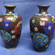 Pair of 5&quot; Antique Yin Yang Cloisonne Vases