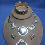 Vintage Siamese Sterling Silver Jewelry Set - Necklace, Earrings, Bracelet and Brooch