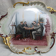 SALE Limoges Handpainted Tray - 4 Men Playing Cards